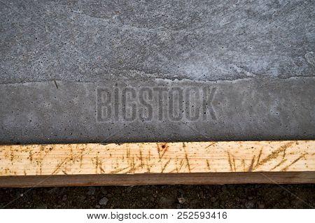 Wood Concrete Stopper And Fresh Concrete At Concrete Yard Construction
