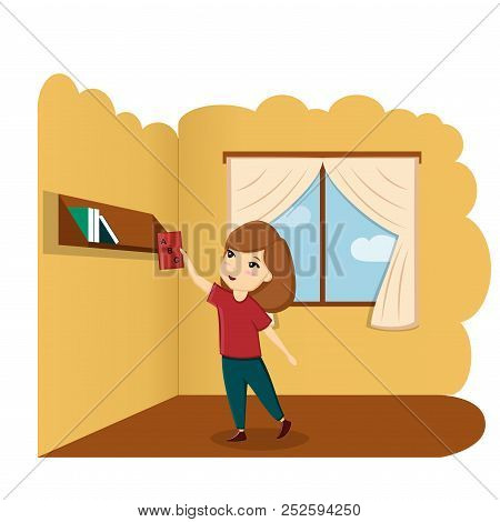 Girl With Book In Room, Illustration, Vector. A Child With A Book. First Day Of School, Back To Scho