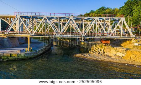 Drone Front View Of The Railway Bridge Over The Matsesta River In Sunny Summer Day, Sochi, Russia