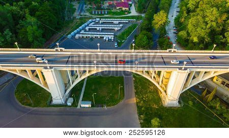 Drone View Of The Matsesta Viaduct Over The Matsesta River And Parking Sunny Summer Day, Sochi, Russ