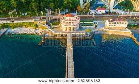 Drone View Of The Pier And The Matsesta Marine Station Near The Railway Station In Sunny Summer Day,