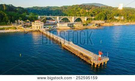 Drone View Of The Pier Of The Matsesta Marine Station On The Background Of The Matsesta Viaduct And