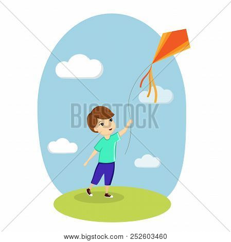 Boy And Kite, Child Playing, Nature, Lawn, Sky. Vector Illustration