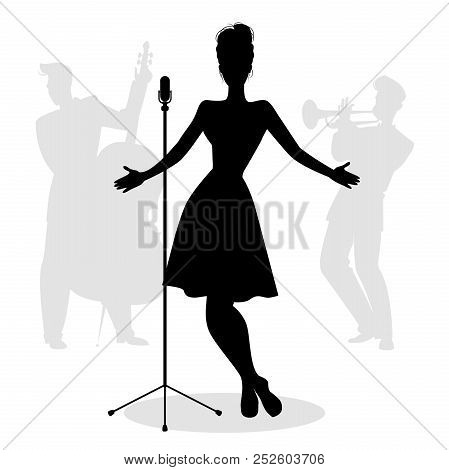Retro Singer Woman Silhouette With Musicians In The Background