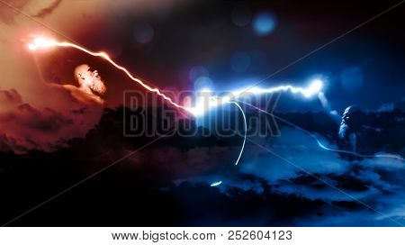 An image of two gods fight with lightnings
