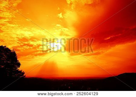 An image of a red sunset sky