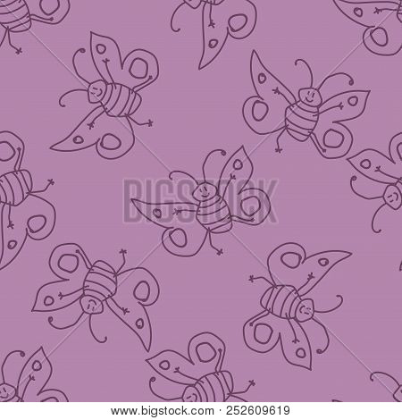 Seamless Pattern With Happy Butterfly Fairy Sorceress. Vector Illustration.