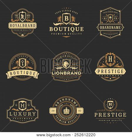 Luxury Monograms Logos Templates Vector Objects Set