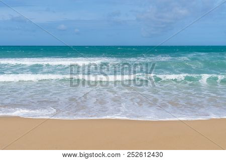 Sea View From Tropical Beach With Sunny Sky. Summer Paradise Beach Of Bali Island. Tropical Shore. T