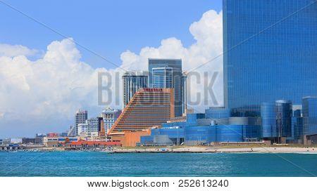 ATLANTIC CITY NEW JERSEY - JULY 5: Ocean View of Casinos on July 5, 2018 in Atlantic City New Jersey.