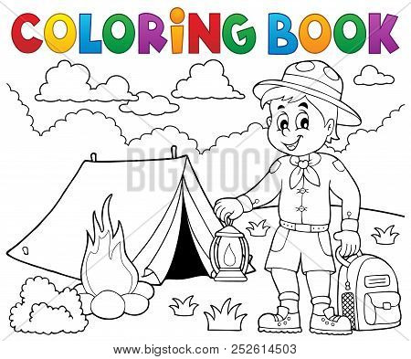 Coloring Book Scout Boy Theme 4 - Eps10 Vector Picture Illustration.
