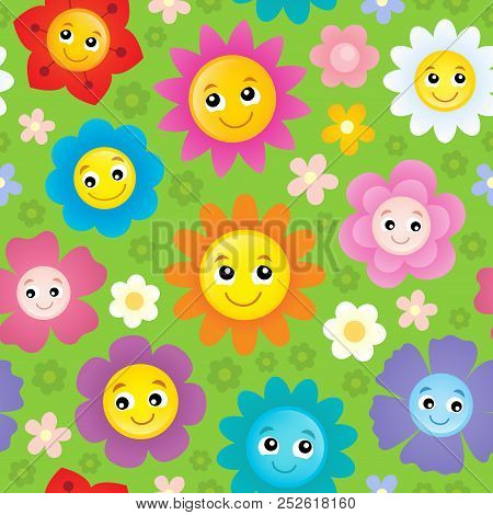 Happy Flower Heads Seamless Background 1 - Eps10 Vector Picture Illustration.