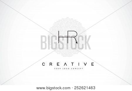 Hr H R Logo Design With Black And White Creative Icon Text Letter Vector.