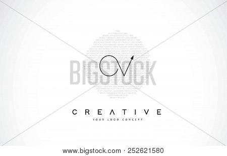 Ov O V Logo Design With Black And White Creative Icon Text Letter Vector.