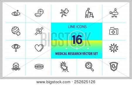 Medical Research Icons. Set Of  Line Icons. Urgent Help, Heart Decease, Virus. Medical Research Conc