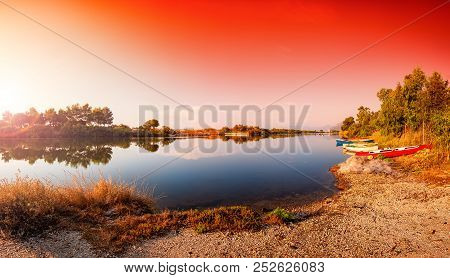 Overview At Sunrise Of A Stretch Of The Petrosu Pond, Orosei. Sardinia