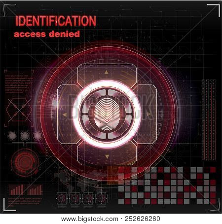 Verification Scanners Set. Finger Scan In Futuristic Style. Biometric Id With Futuristic Hud Interfa