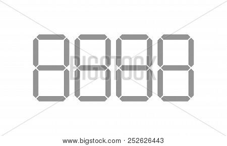 Digital Price Tag Digits Or Numbers Vector Template For Shop Or Supermarket. Store Price Labels For