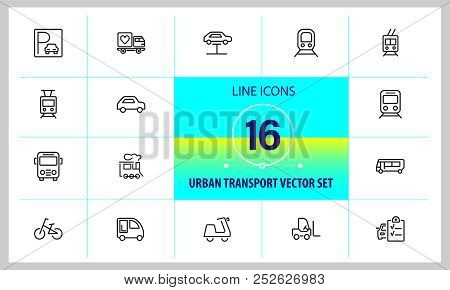 Urban Transport Icons. Set Of  Line Icons. Tram, Bicycle, Parking. Vehicle Concept. Vector Illustrat