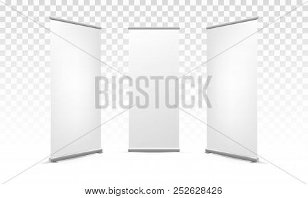 Roll Up Or Pop Up X Banner Vector White Model Mockup For Advertising Template Isolated On Transparen