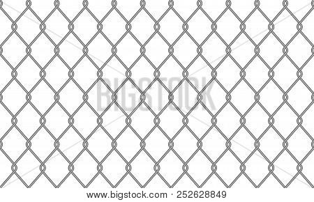 Chain-link Fence Or Wire Mesh Netting Pattern Background. Vector Seamless Realistic Metal Chain Link