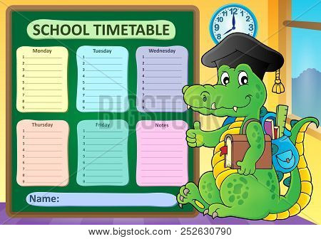 Weekly School Timetable Subject 8 - Eps10 Vector Picture Illustration.