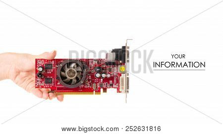 Video Card In Hand Pattern On White Background Isolation
