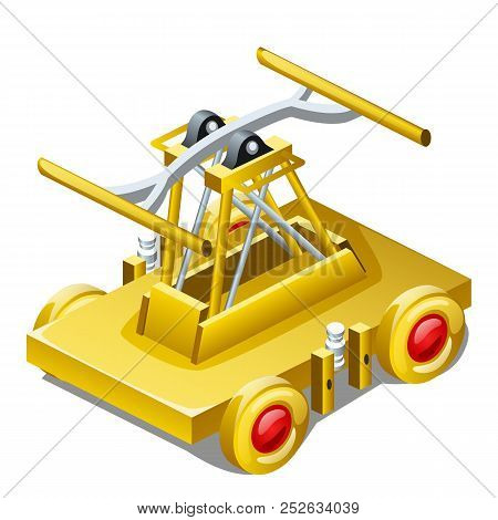 Table Souvenir In The Form Of Draisine Or Handcar Made Of Gold Isolated On White Background Closeup.