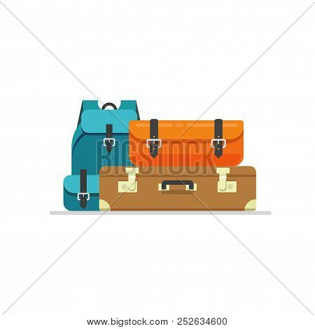 Luggage Isolated Vector Illustration, Flat Cartoon Travel Suitcase, Bag Or Handbag And Backpack Bagg