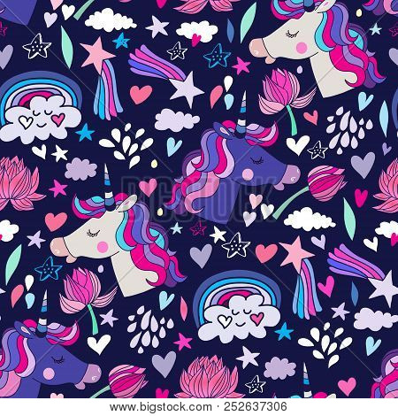 Awesome Seamless Pattern With Unicorn And Star.magic Unicorn In Cartoon Style.kids Illustration For