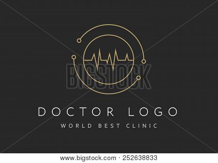 Cardiology Icon Isolated On Black Background. Cardiology Vector Logo. Flat Design Style. Modern Vect