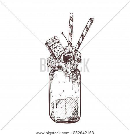 Vector Hand Drawn Milkshake Vector Illustration With Waffles. Sketch Vintage Engraving Style. Design