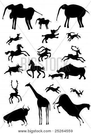 African Animals Looks Like Cave Painting - Vector