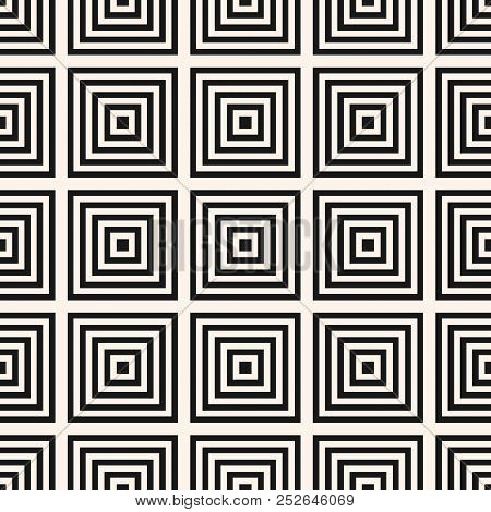 Vector Geometric Squares Seamless Pattern. Simple Abstract Black And White Graphic Ornament With Lin