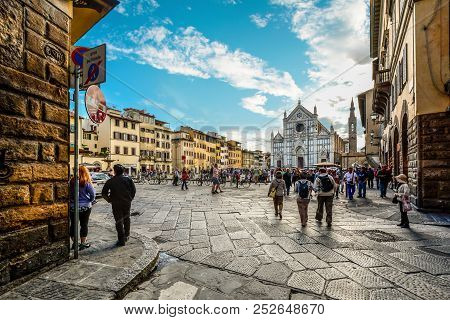 Florence, Italy - September 21 2016: Late Summer Afternoon In The Tuscan City Of Florence Italy As C