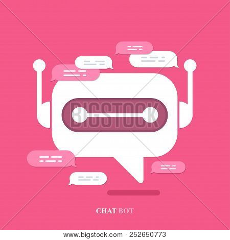 Vector Modern Flat Chat Bot With Speech Bubble Icons On Pink Background.