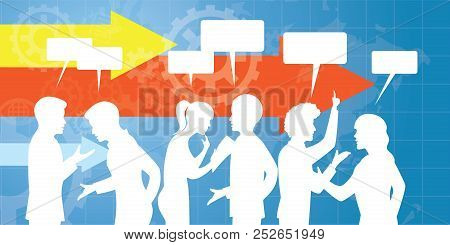 Vector Illustration. Communication In Business Concept