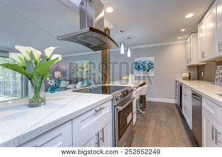 White Small Kitchen In Modern Apartment.