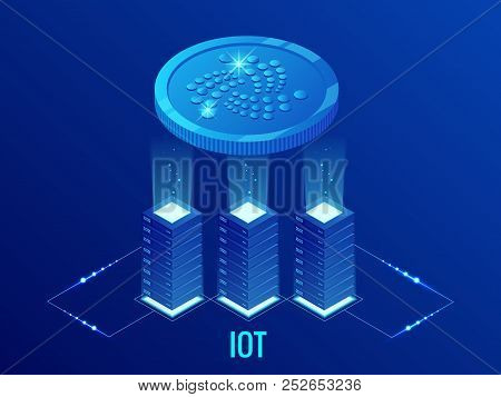Isometric Iota Cryptocurrency Mining Farm. Blockchain Technology, Cryptocurrency And A Digital Payme