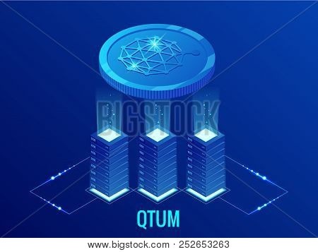 Isometric Qtum Cryptocurrency Mining Farm. Blockchain Technology, Cryptocurrency And A Digital Payme