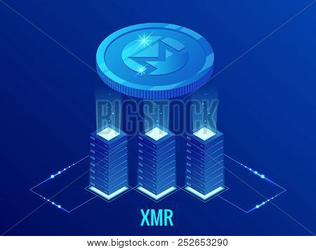 Isometric Monero Xmr Cryptocurrency Mining Farm. Blockchain Technology, Cryptocurrency And A Digital