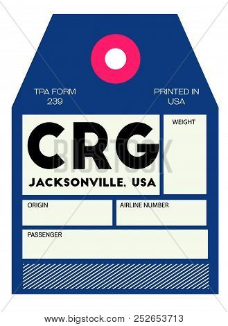 Jacksonville Realistically Looking Airport Luggage Tag Illustration