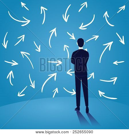 Vector Illustration. Dilemma In Business Concept