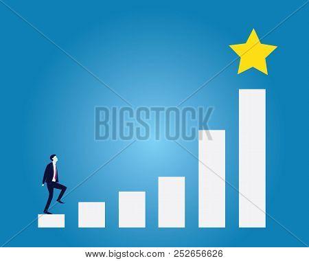 Business Target Concept. Climbing Ladder Reaching Star