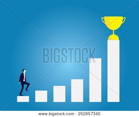 Business Target Concept. Climbing Ladder Reaching Trophy Of Winning