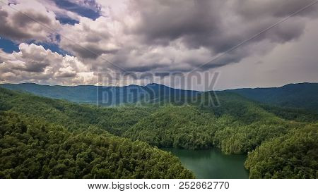 Aerial Of South Carolina Lake Jocassee Gorges Upstate Mountains