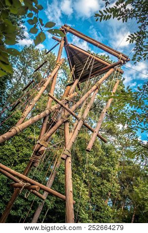 A Wooden Climbing Tower For Fun And Recreation