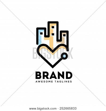 Love City Logo, Heart City Lines Logo Concept, Real Estate Logo Concept, Heart City Logo Concept, Ce