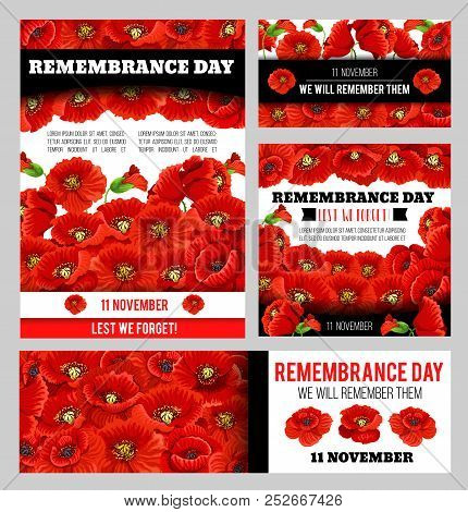 Remembrance Day Lest We Forget Poppy Banner Template Set. World War Soldier And Veteran Memory Day A