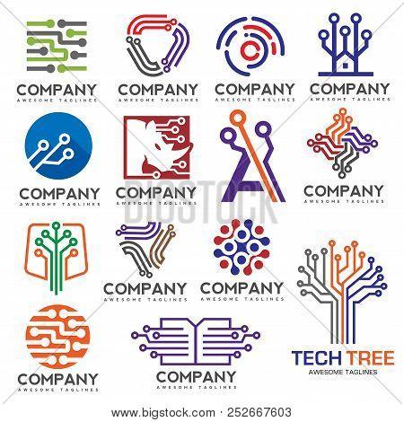 Digital Electronics Set Logo Design, Creative Electronic Circuits Logo Vector, It Technology Logo Co